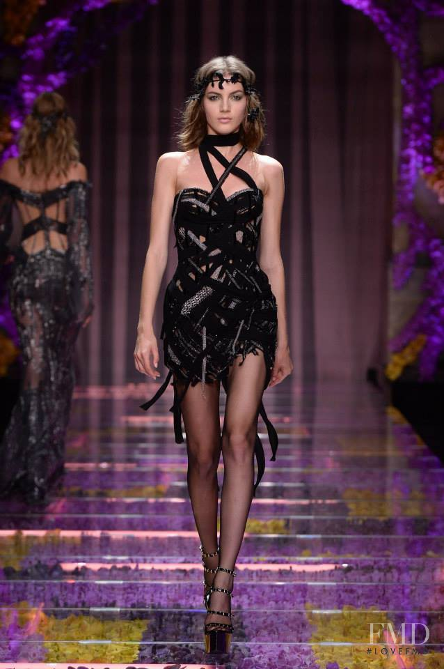 Valery Kaufman featured in  the Atelier Versace fashion show for Autumn/Winter 2015