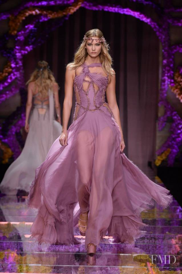 Karlie Kloss featured in  the Atelier Versace fashion show for Autumn/Winter 2015