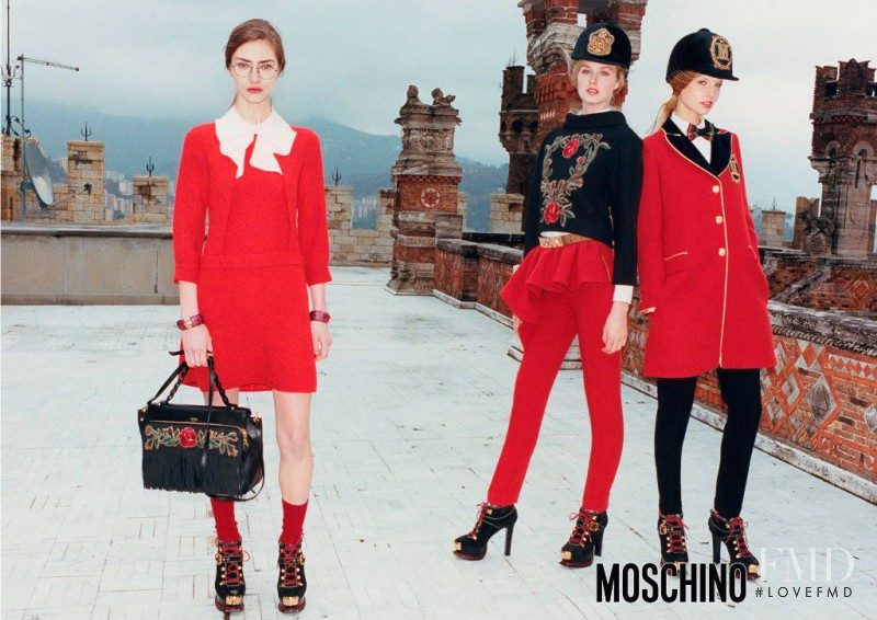 Dauphine McKee featured in  the Moschino advertisement for Autumn/Winter 2013