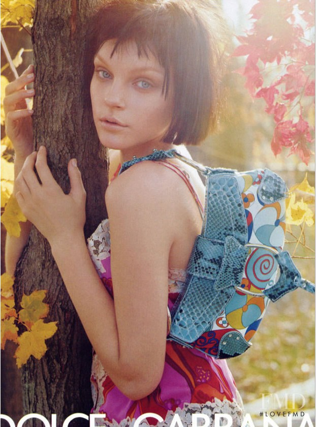 Jessica Stam featured in  the Dolce & Gabbana advertisement for Spring/Summer 2004
