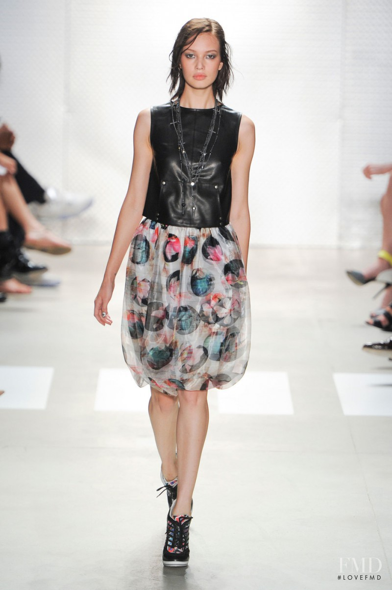 Kid Plotnikova featured in  the Nicole Miller fashion show for Spring/Summer 2016