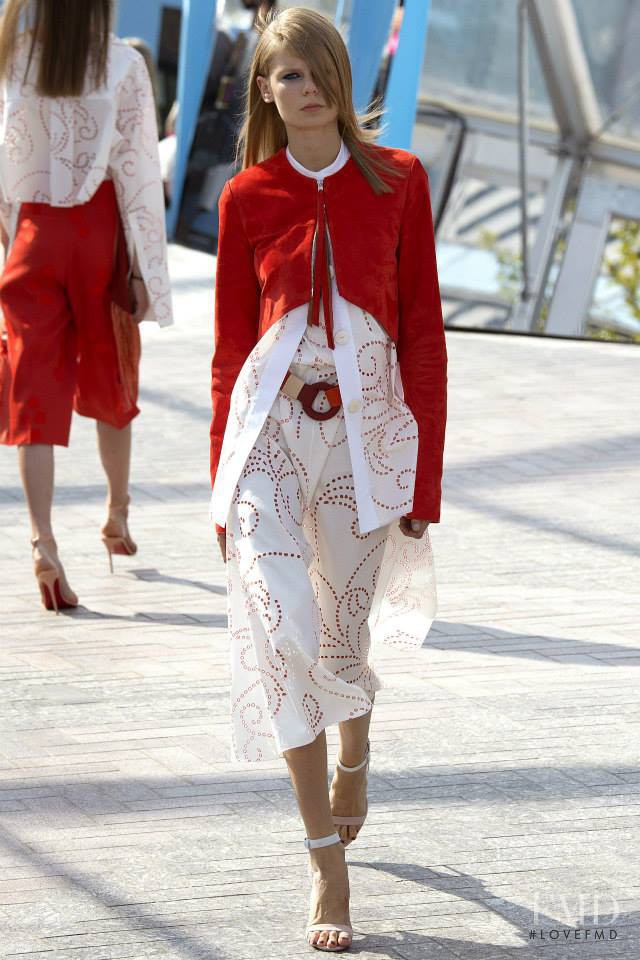 Alexandra Elizabeth Ljadov featured in  the Jonathan Saunders fashion show for Spring/Summer 2016