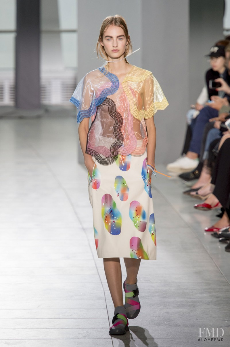 Maartje Verhoef featured in  the Christopher Kane fashion show for Spring/Summer 2016