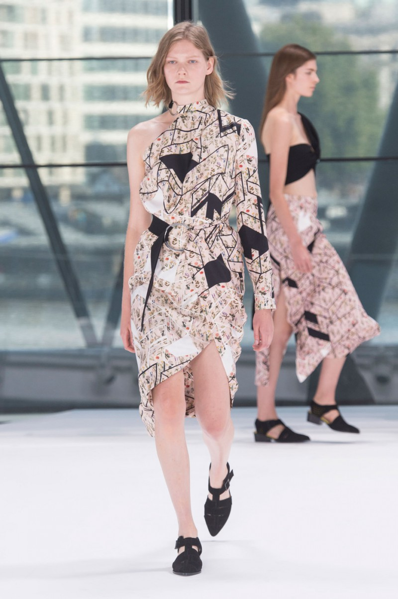 Marland Backus featured in  the Preen by Thornton Bregazzi fashion show for Spring/Summer 2016