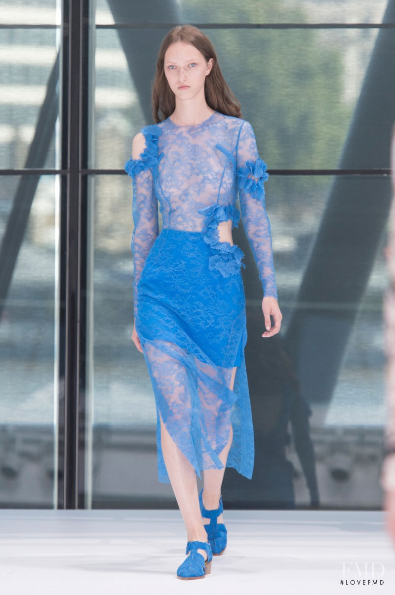 Liza Ostanina featured in  the Preen by Thornton Bregazzi fashion show for Spring/Summer 2016