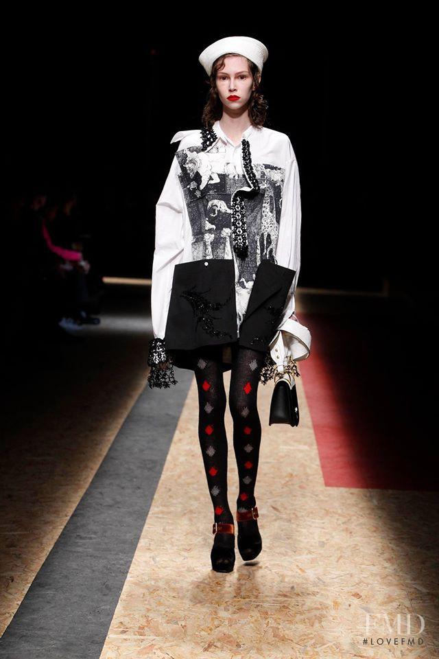 Lorena Maraschi featured in  the Prada fashion show for Autumn/Winter 2016