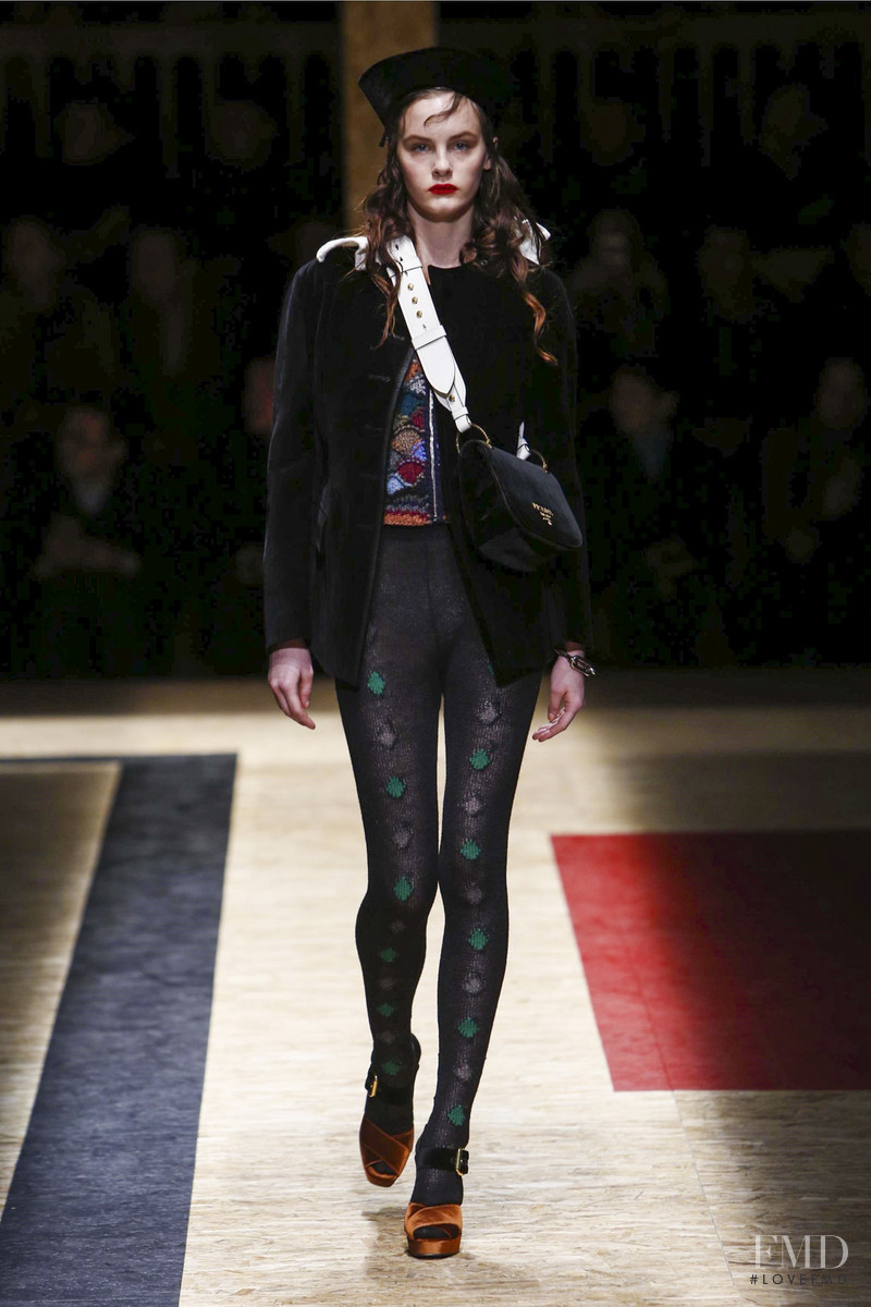 Lea Holzfuss featured in  the Prada fashion show for Autumn/Winter 2016