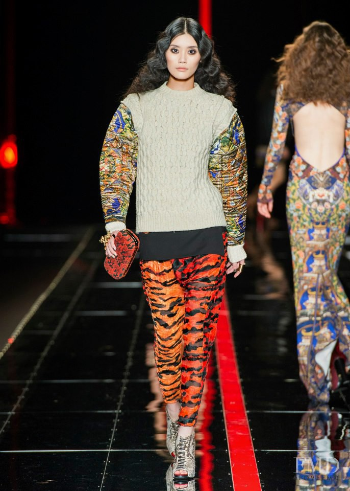 Ming Xi featured in  the Just Cavalli fashion show for Autumn/Winter 2013