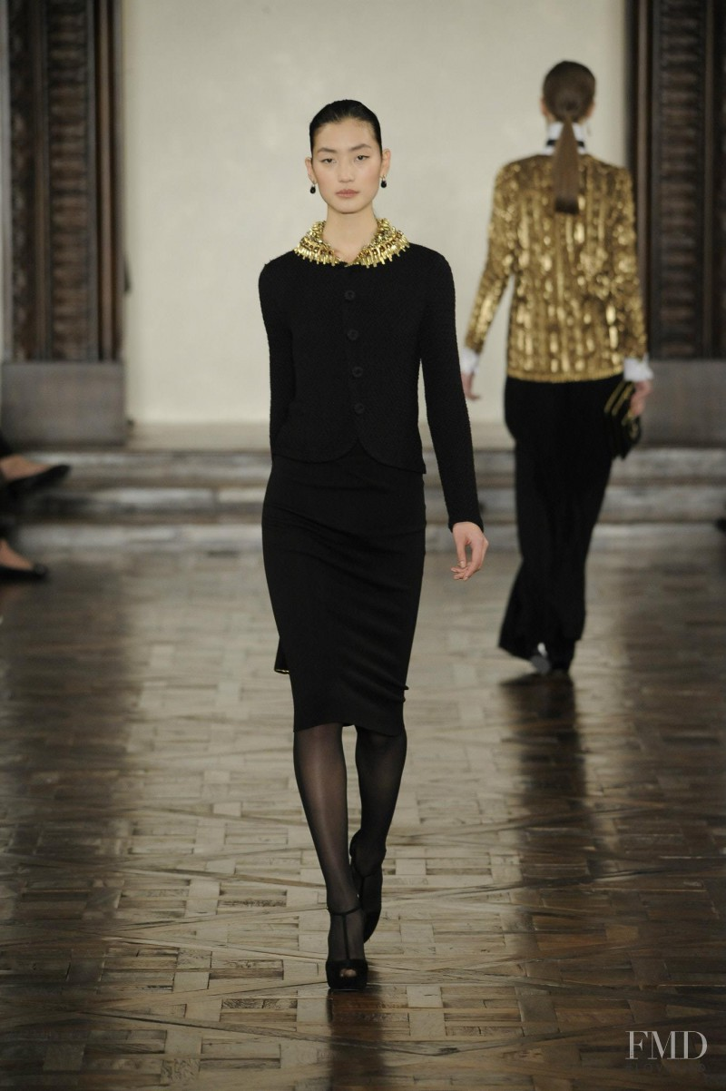 Lina Zhang featured in  the Ralph Lauren Collection fashion show for Autumn/Winter 2012