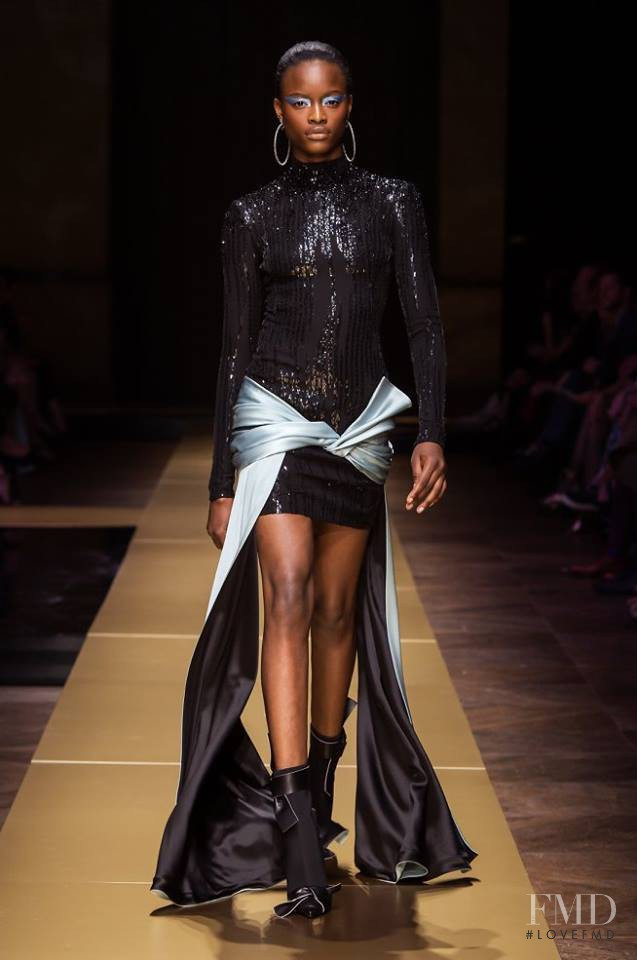 Mayowa Nicholas featured in  the Atelier Versace fashion show for Autumn/Winter 2016