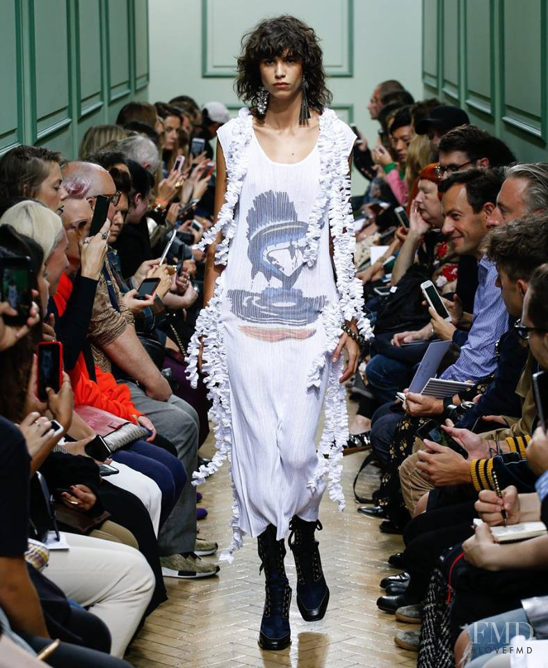 Mica Arganaraz featured in  the J.W. Anderson fashion show for Spring/Summer 2017