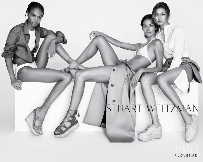 Gigi Hadid featured in  the Stuart Weitzman advertisement for Spring/Summer 2016