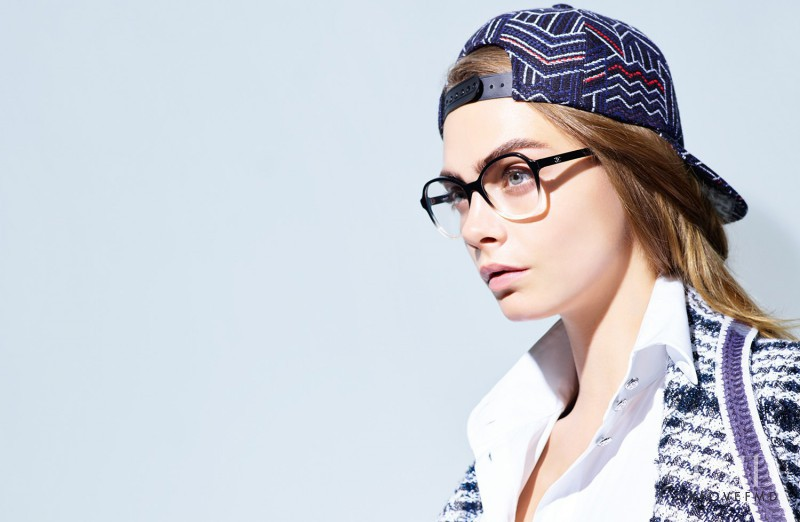 Cara Delevingne featured in  the Chanel Eyewear advertisement for Spring/Summer 2016