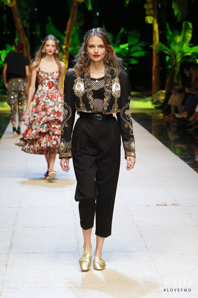Anna Mila Guyenz featured in  the Dolce & Gabbana fashion show for Spring/Summer 2017