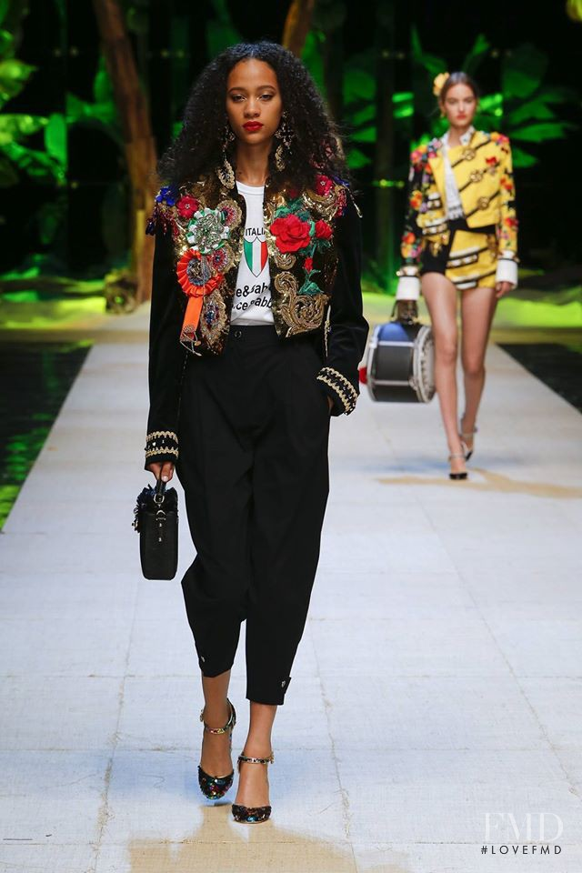 Selena Forrest featured in  the Dolce & Gabbana fashion show for Spring/Summer 2017