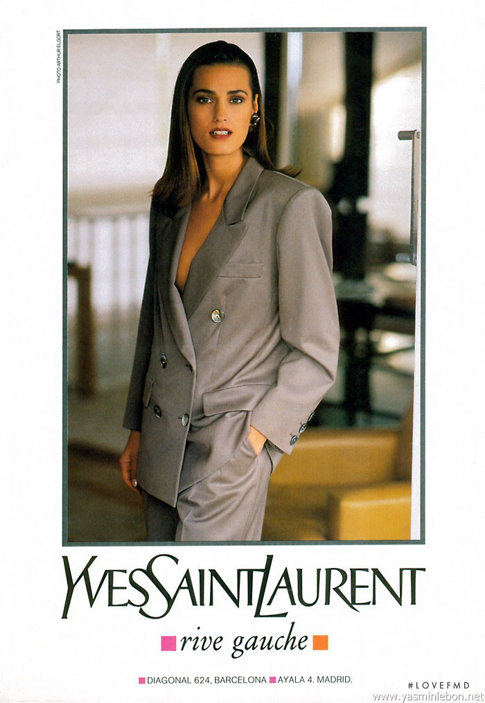 Yasmin Le Bon featured in  the Saint Laurent advertisement for Spring/Summer 1991