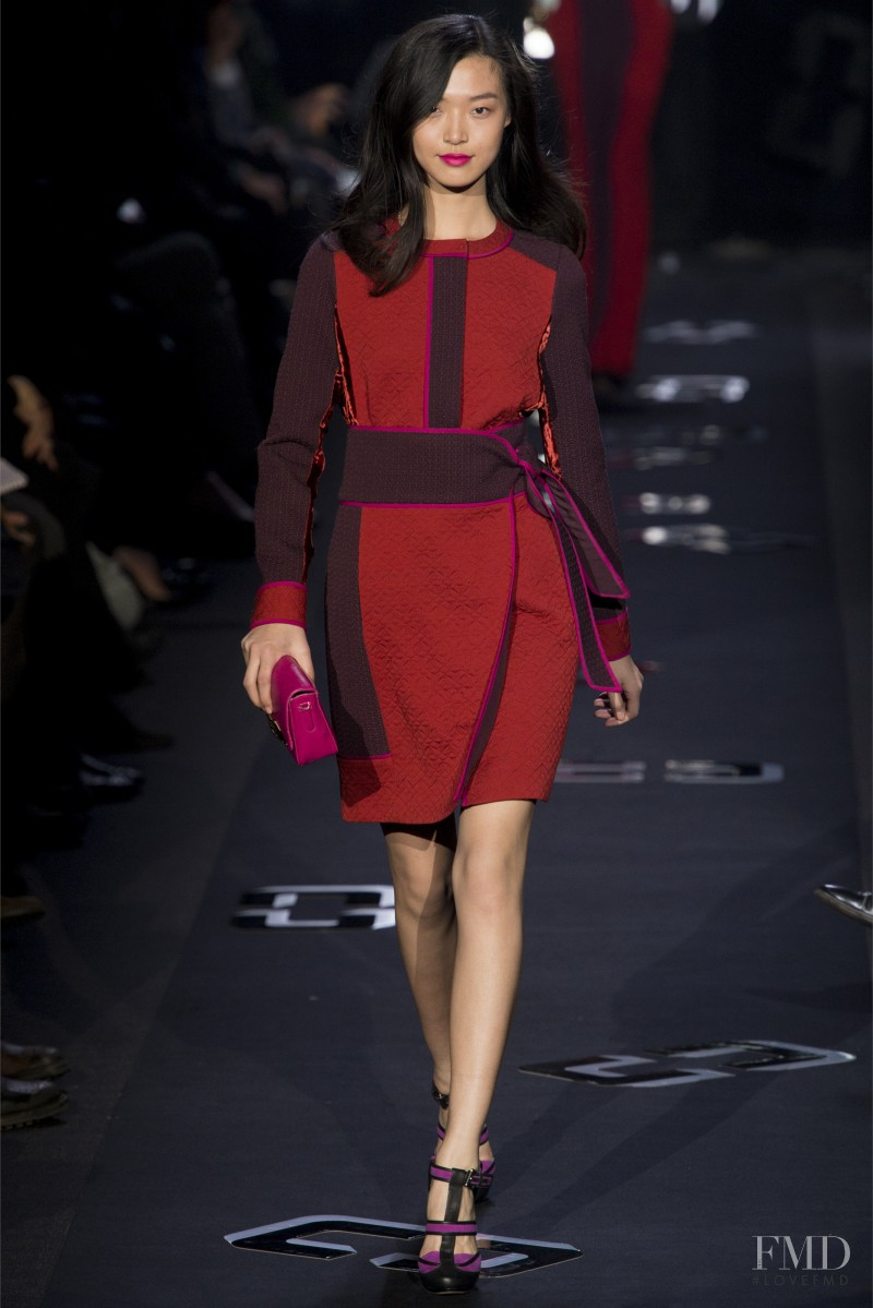 Tian Yi featured in  the Diane Von Furstenberg fashion show for Autumn/Winter 2013