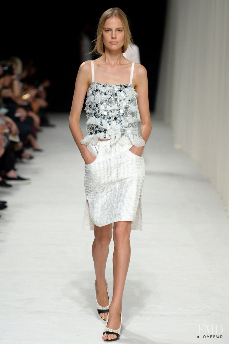 Elisabeth Erm featured in  the Nina Ricci fashion show for Spring/Summer 2014