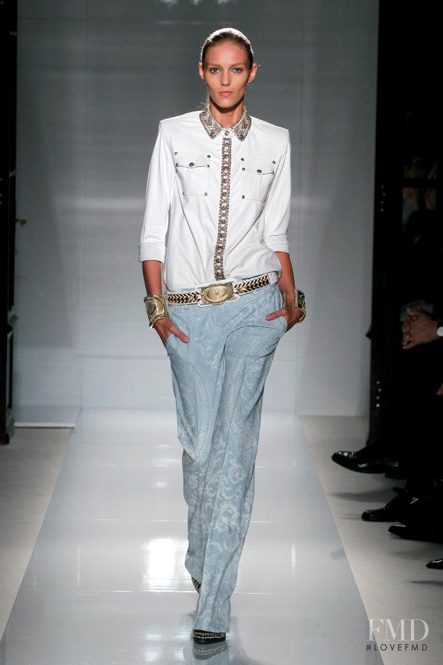 Anja Rubik featured in  the Balmain fashion show for Spring/Summer 2012