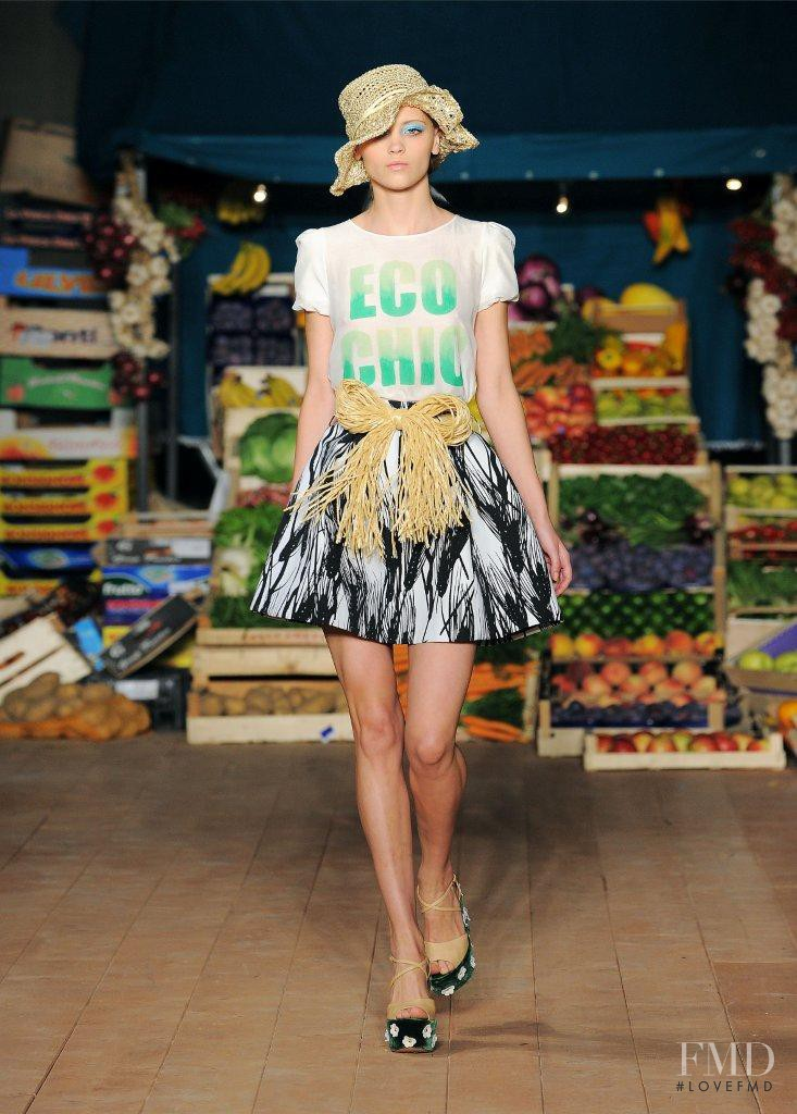 Mila Krasnoiarova featured in  the Boutique Moschino fashion show for Spring/Summer 2012
