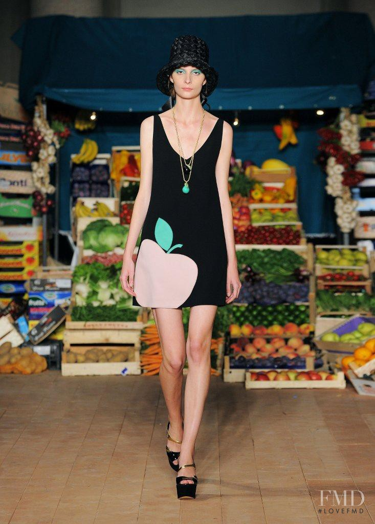 Suzie Bird featured in  the Boutique Moschino fashion show for Spring/Summer 2012