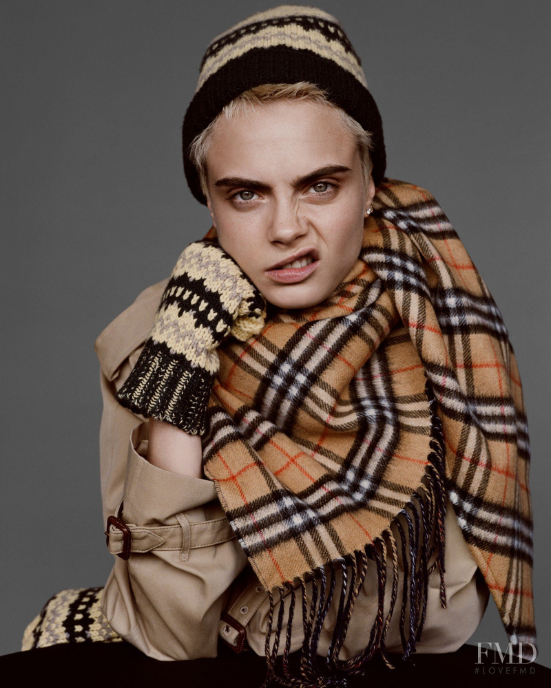 Cara Delevingne featured in  the Burberry advertisement for Holiday 2017