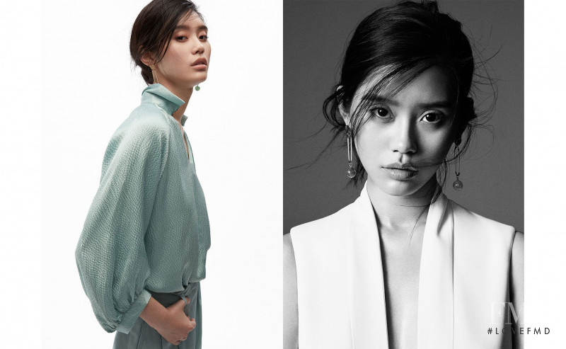 Ming Xi featured in  the Massimo Dutti Magnolia Bloom lookbook for Summer 2017