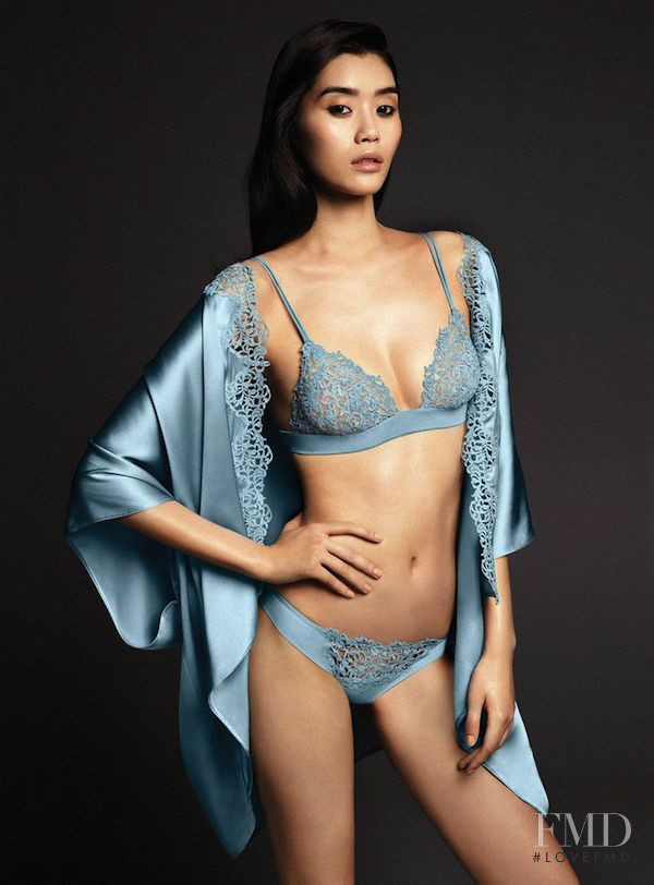 Ming Xi featured in  the La Perla lookbook for Spring/Summer 2015