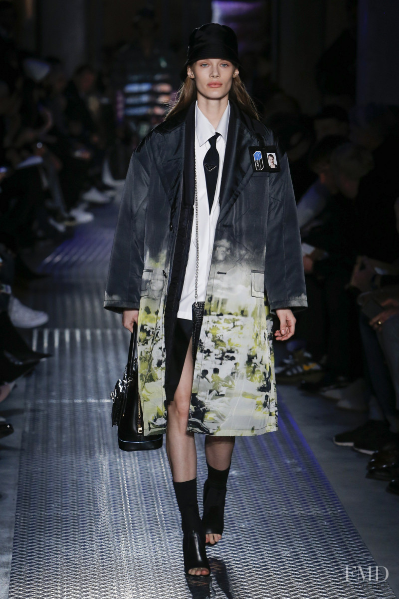 Kris Grikaite featured in  the Prada fashion show for Autumn/Winter 2018