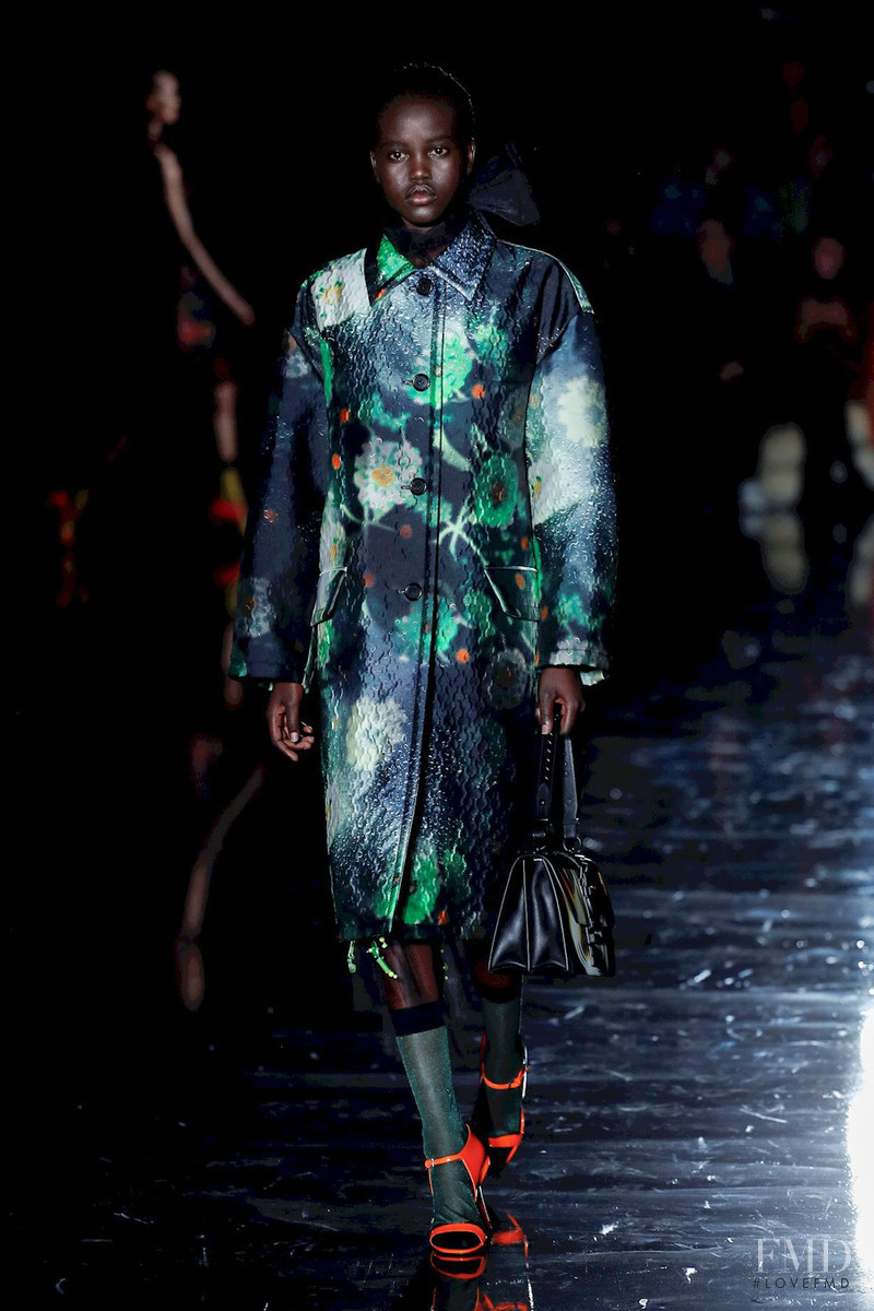 Adut Akech Bior featured in  the Prada fashion show for Autumn/Winter 2018