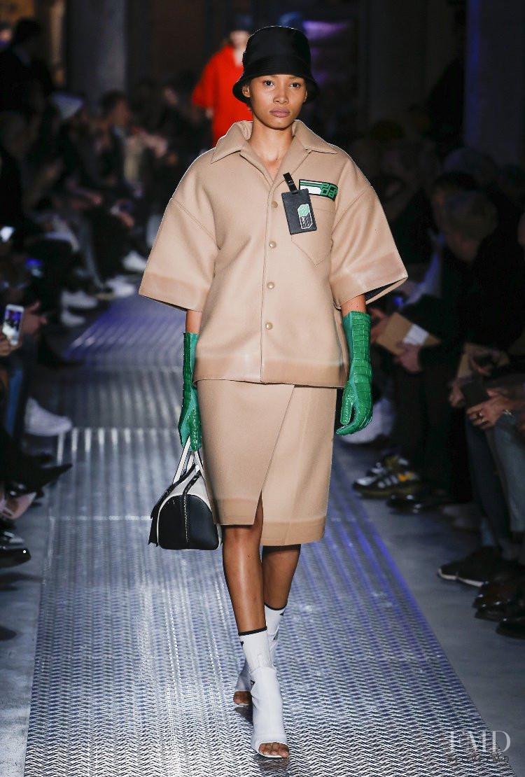 Lineisy Montero featured in  the Prada fashion show for Autumn/Winter 2018