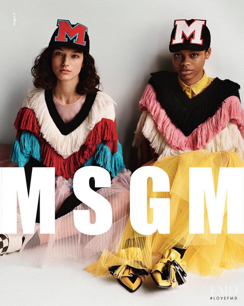 Aaliyah Hydes featured in  the MSGM advertisement for Autumn/Winter 2017