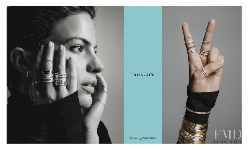Cameron Russell featured in  the Tiffany & Co. advertisement for Spring/Summer 2018