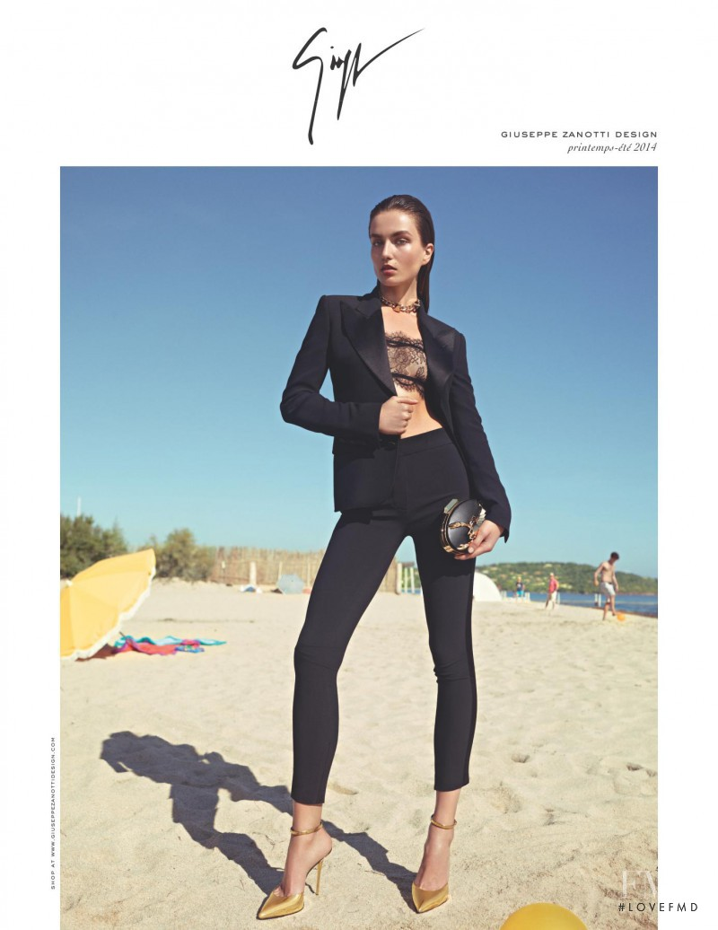 Andreea Diaconu featured in  the Giuseppe Zanotti advertisement for Spring/Summer 2014