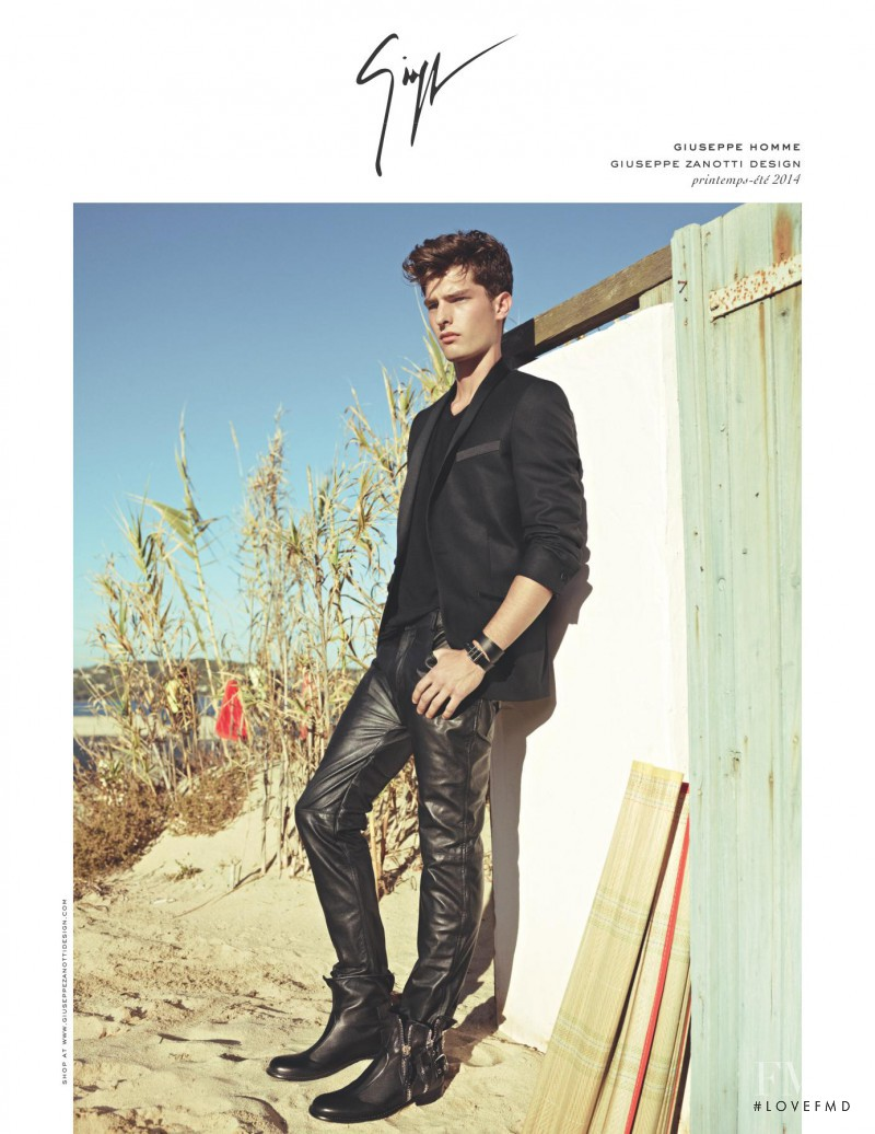 Paolo Anchisi featured in  the Giuseppe Zanotti advertisement for Spring/Summer 2014