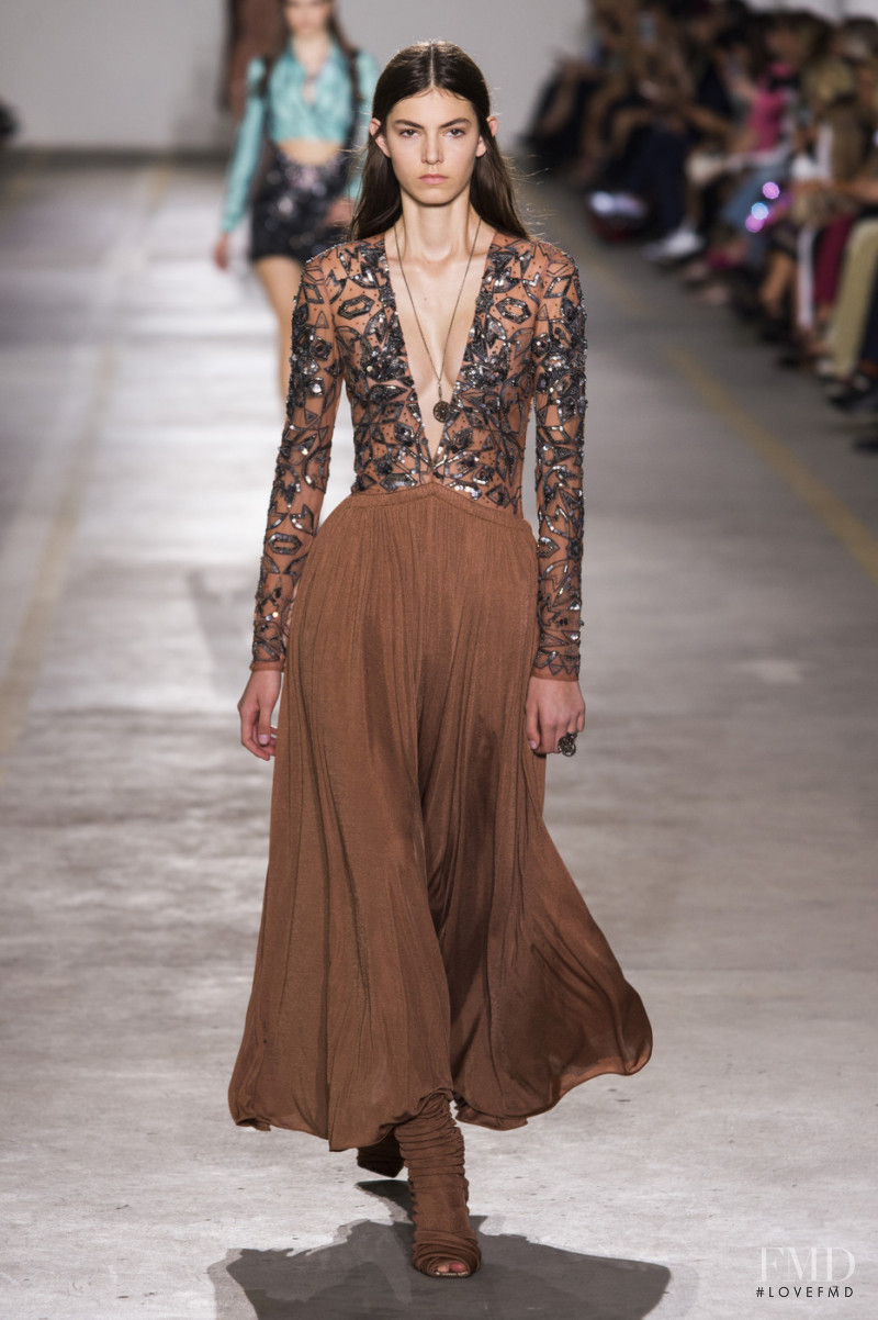 Alberte Mortensen featured in  the Roberto Cavalli fashion show for Spring/Summer 2019