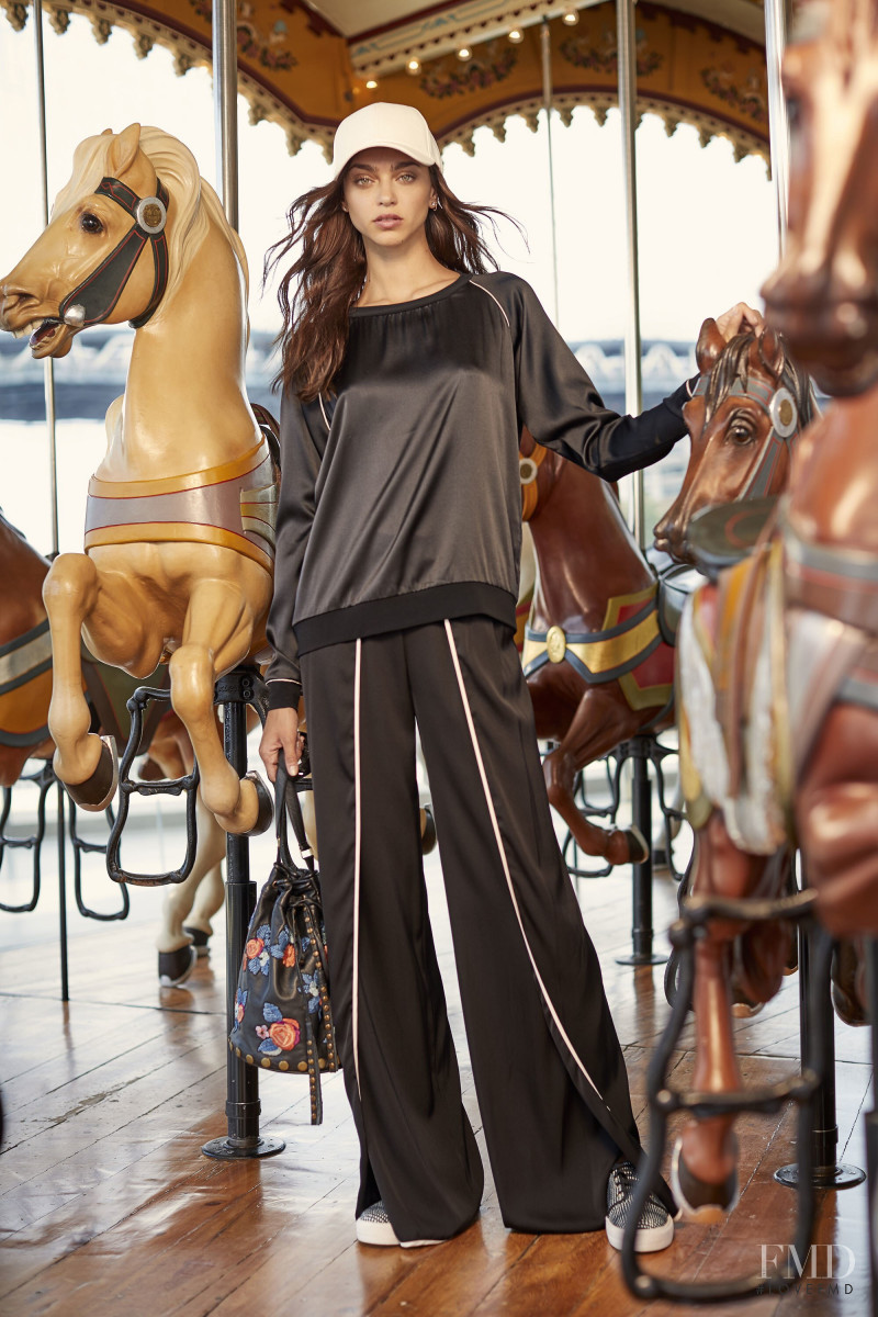 Zhenya Katava featured in  the Nicole Miller lookbook for Resort 2018