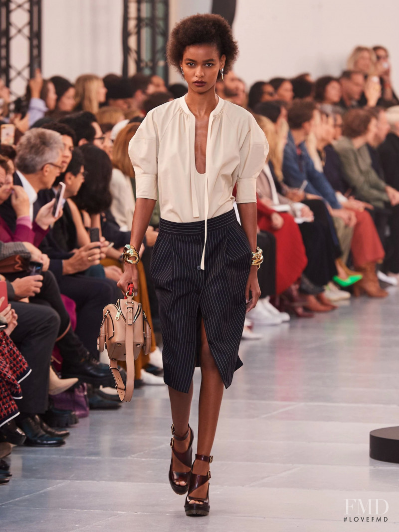 Blesnya Minher featured in  the Chloe fashion show for Spring/Summer 2020