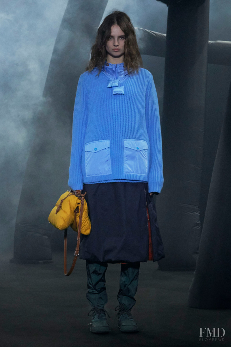 Giselle Norman featured in  the Moncler 1 JW Anderson fashion show for Autumn/Winter 2020