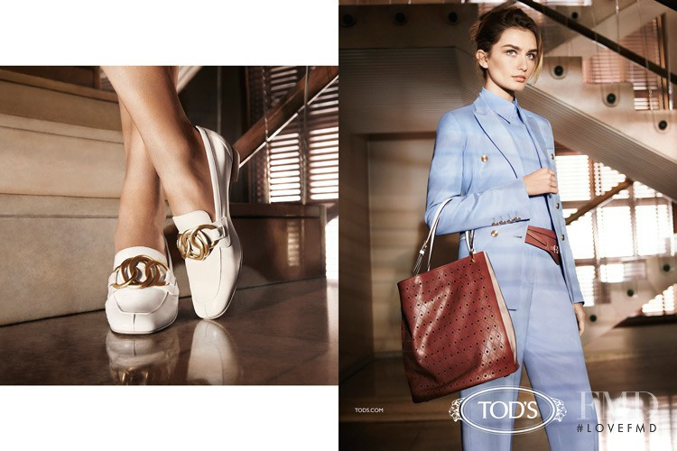 Andreea Diaconu featured in  the Tod\'s advertisement for Spring/Summer 2014
