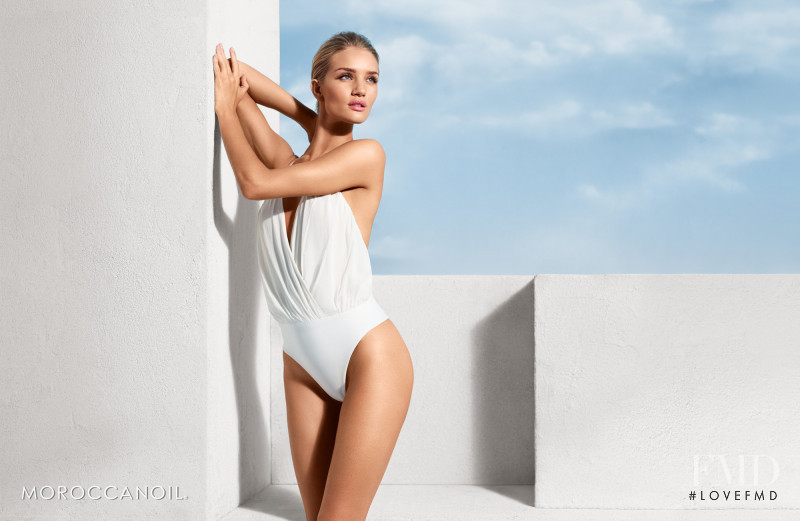 Rosie Huntington-Whiteley featured in  the Moroccanoil advertisement for Spring/Summer 2015