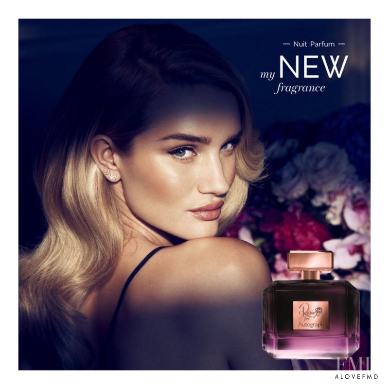 Rosie Huntington-Whiteley featured in  the Marks & Spencer Autograph Nuit Parfum advertisement for Autumn/Winter 2015