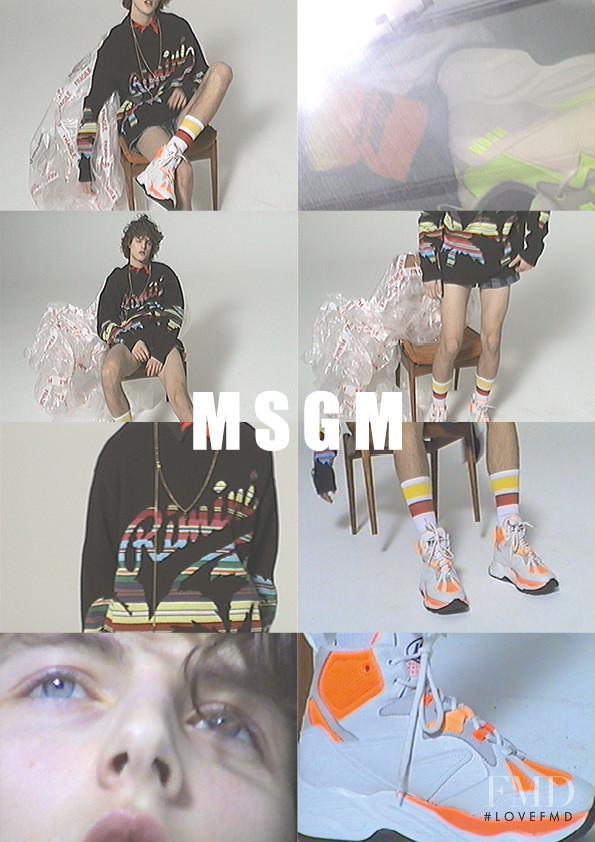 Kajus Valciukas featured in  the MSGM advertisement for Spring/Summer 2019