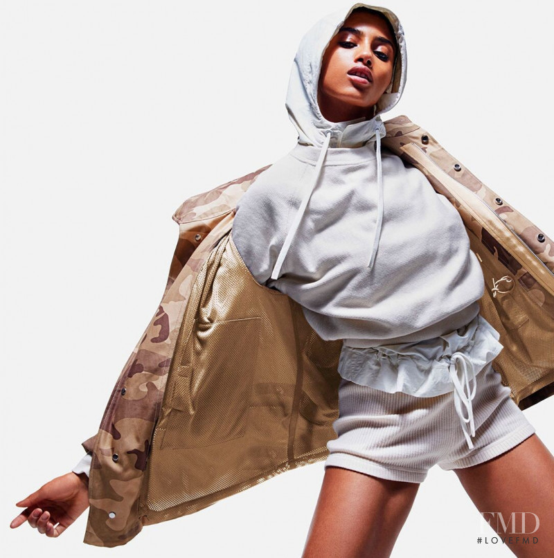 Imaan Hammam featured in  the Reebok x Victoria Beckham advertisement for Spring/Summer 2020