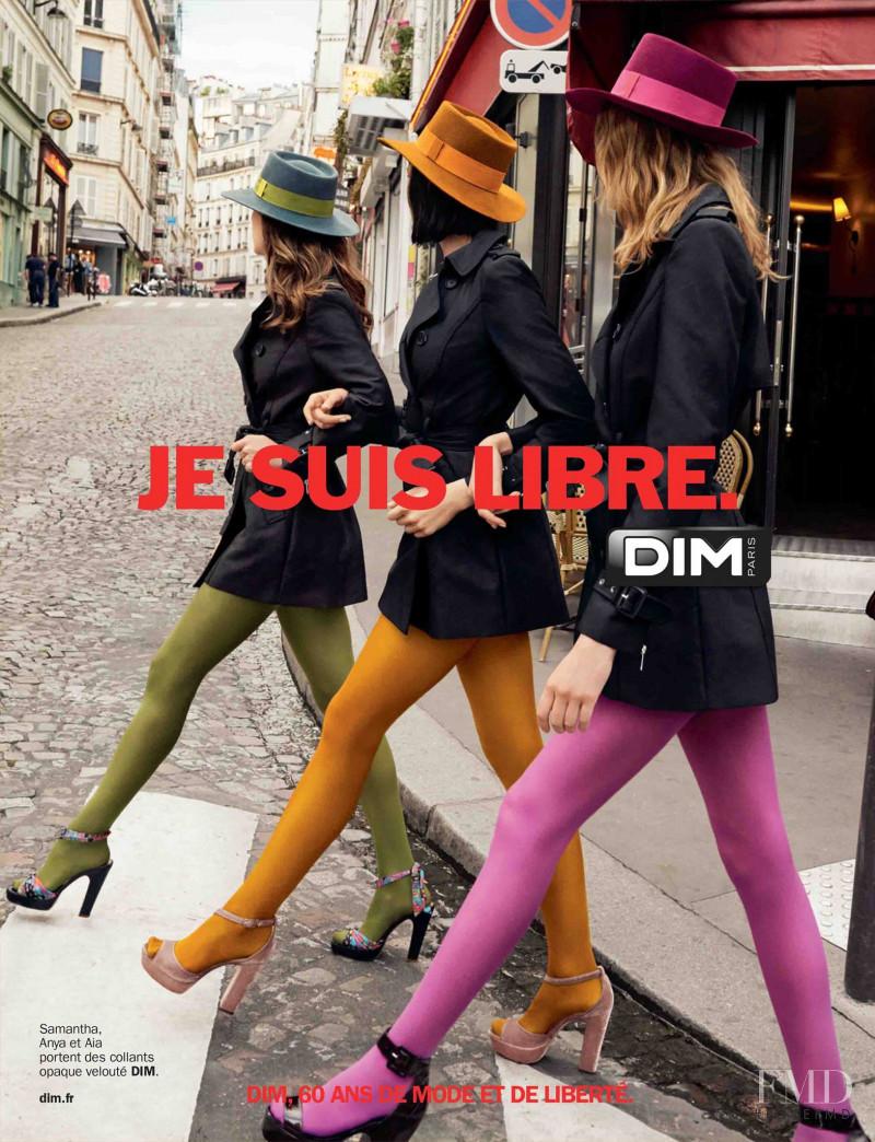 Samantha Gradoville featured in  the DIM Paris advertisement for Autumn/Winter 2017