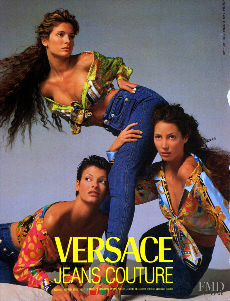 Christy Turlington featured in  the Versace Jeans Couture advertisement for Spring/Summer 1993