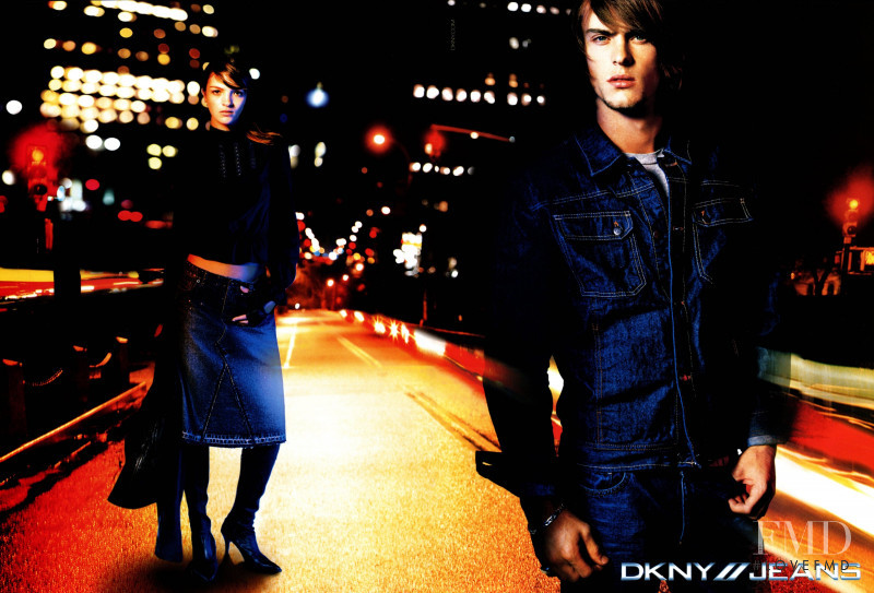 Mariacarla Boscono featured in  the DKNY Jeans advertisement for Autumn/Winter 2002