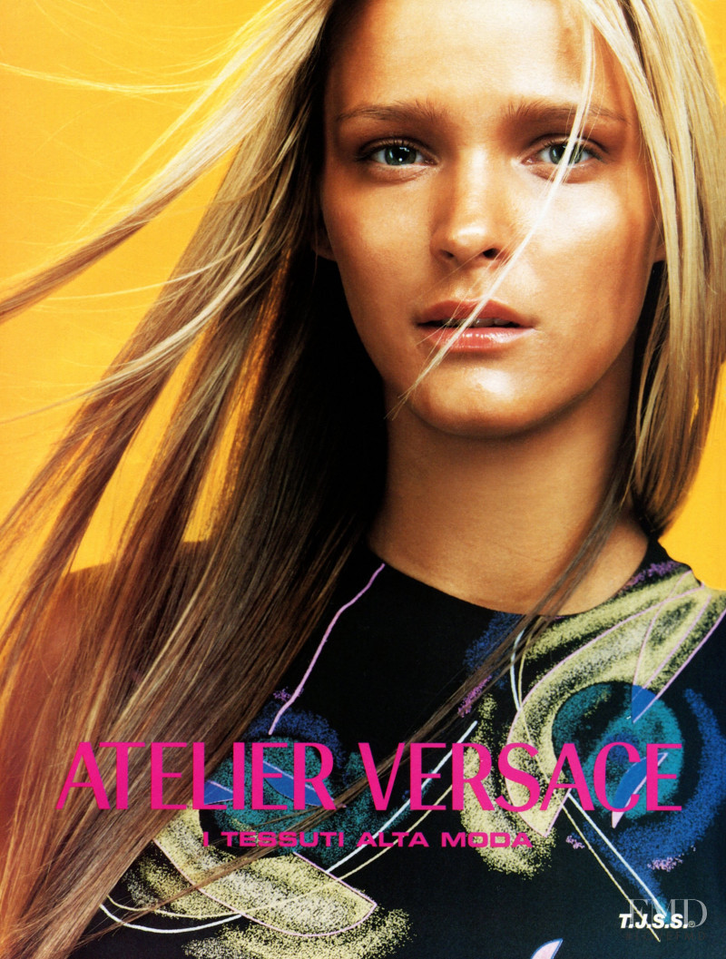 Carmen Kass featured in  the Atelier Versace advertisement for Spring/Summer 1999
