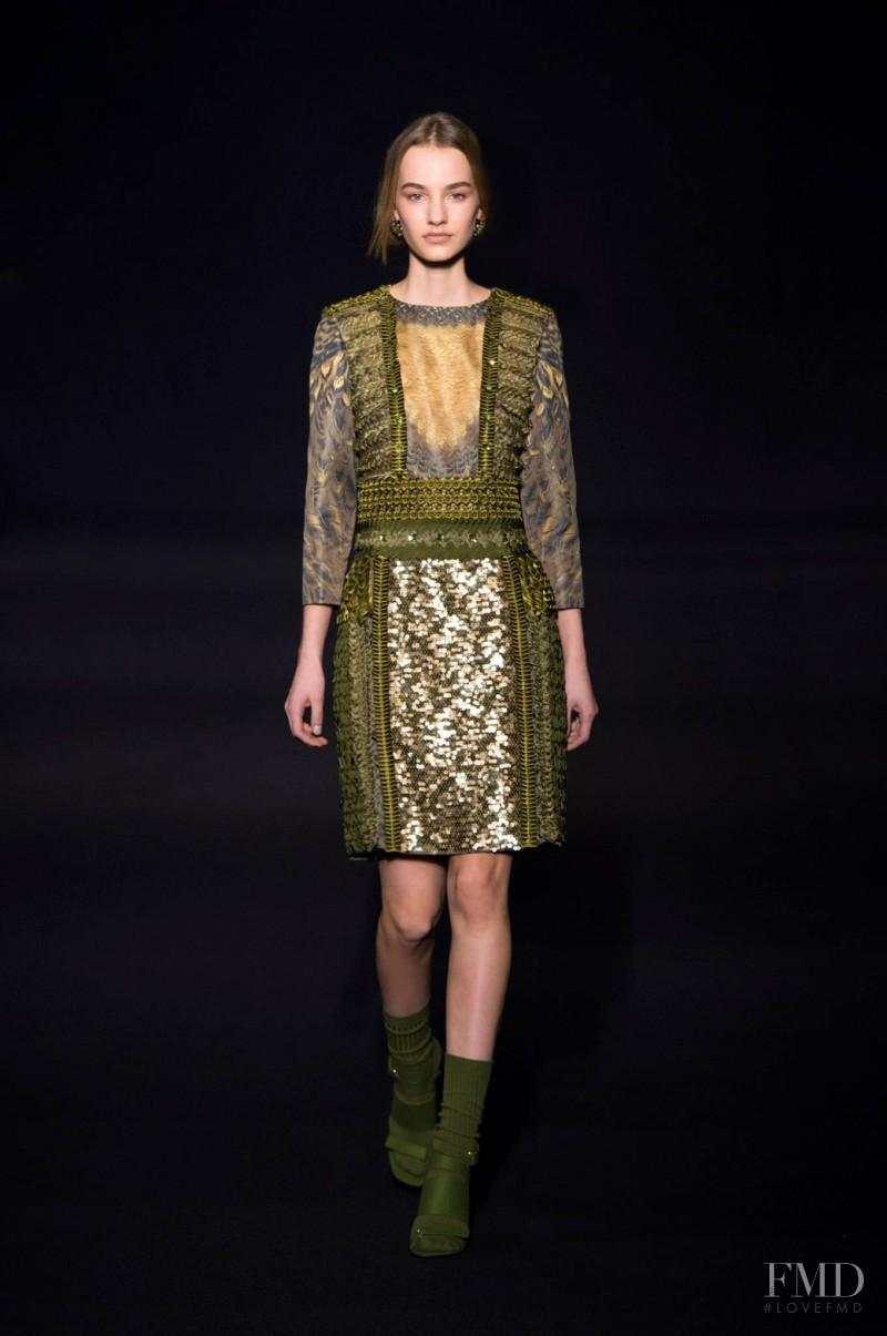 Maartje Verhoef featured in  the Alberta Ferretti fashion show for Autumn/Winter 2014