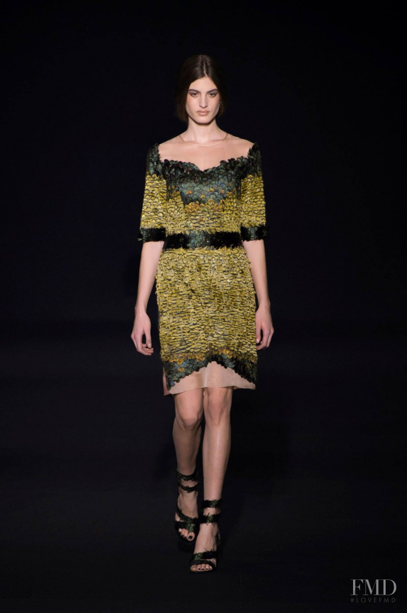 Elodia Prieto featured in  the Alberta Ferretti fashion show for Autumn/Winter 2014